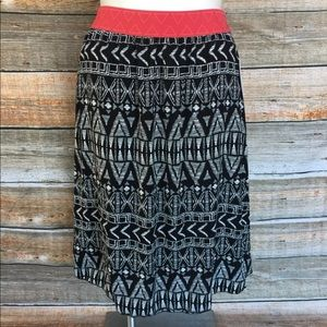 LuLaRoe Lola Black And White Geometric Skirt